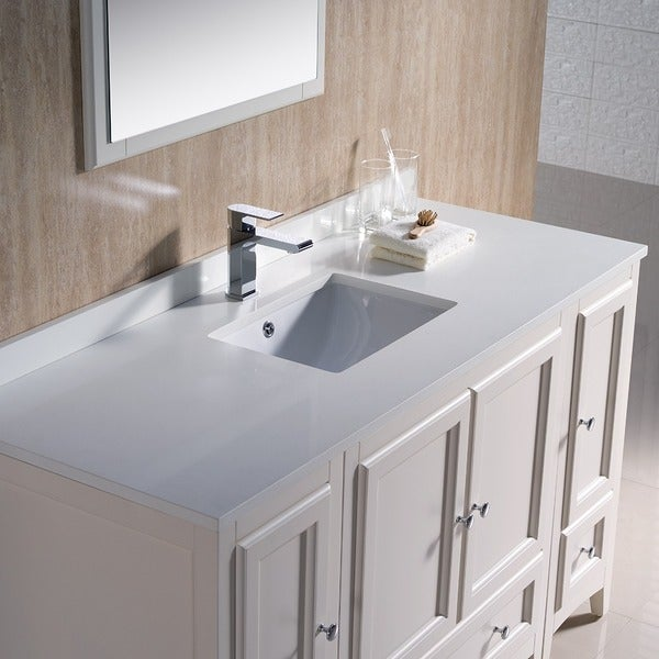 Fresca Oxford 54-inch Antique White Traditional Bathroom Vanity ...