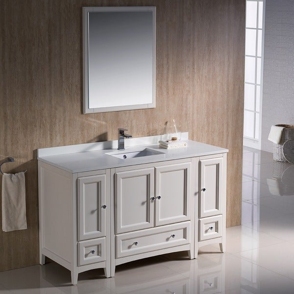 54 inch antique white traditional bathroom vanity with 2 side cabinets