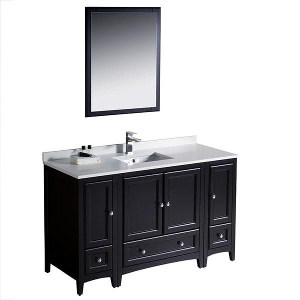 shop fresca oxford 54 inch espresso traditional bathroom vanity with 2 side cabinets free. Black Bedroom Furniture Sets. Home Design Ideas