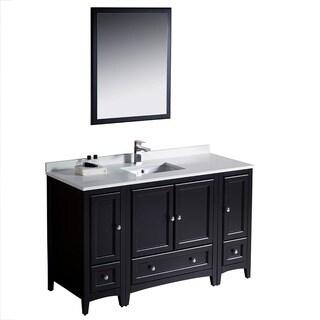 Fresca Oxford 54-inch Espresso Traditional Bathroom Vanity with 2 Side Cabinets