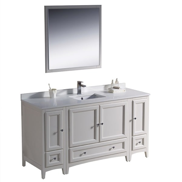 60 inch antique white traditional bathroom vanity with 2 side cabinets