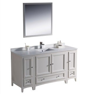 Fresca Oxford 60-inch Antique White Traditional Bathroom Vanity with 2 Side Cabinets