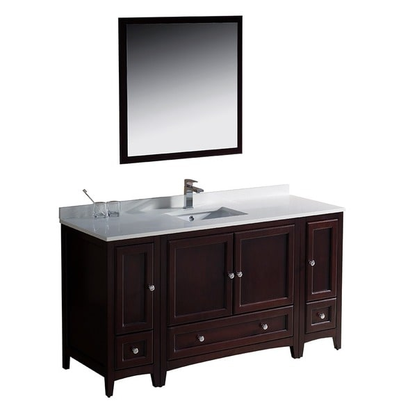 60 inch mahogany traditional bathroom vanity with 2 side cabinets