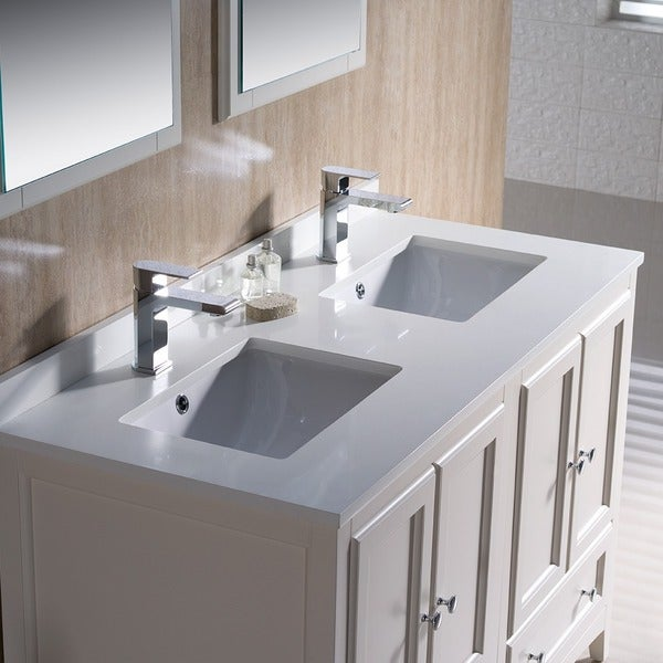 Fresca Oxford 48 Inch Antique White Traditional Double Sink Bathroom Vanity    Free Shipping Today   Overstock.com   17125182