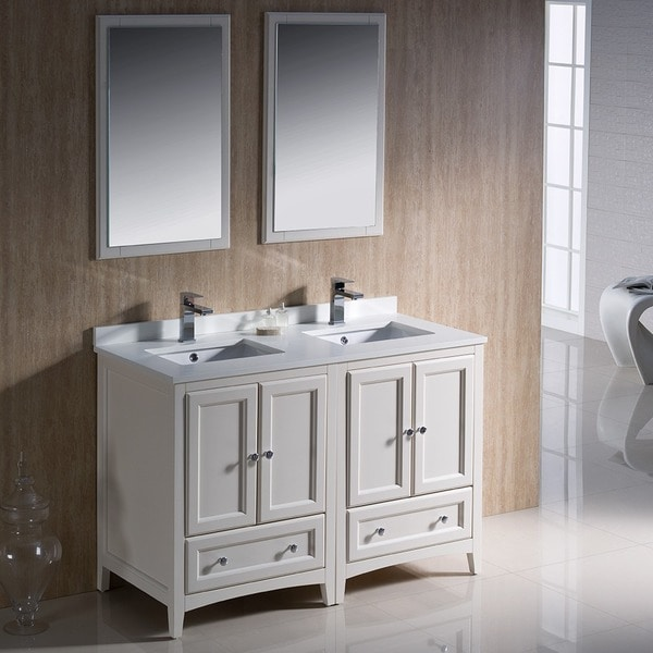 Shop fresca oxford 48 inch antique white traditional for Antique white double sink bathroom vanities