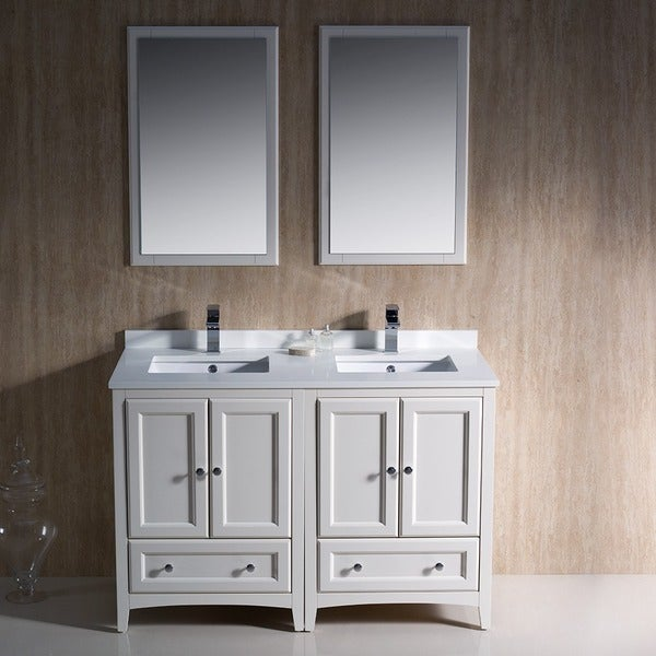 Fresca Oxford 48-inch Antique White Traditional Double Sink Bathroom Vanity  - Free Shipping Today - Overstock.com - 17125182 - Fresca Oxford 48-inch Antique White Traditional Double Sink