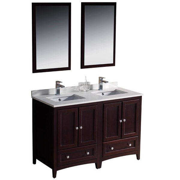 Shop fresca oxford 48 inch mahogany traditional double - 48 inch double sink bathroom vanity ...