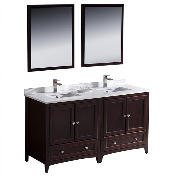 Fresca Oxford 60 Inch Mahogany Traditional Double Sink