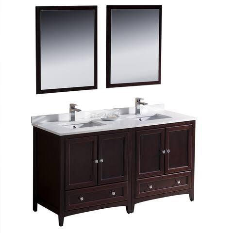 Fresca Oxford 60-inch Mahogany Traditional Double Sink Bathroom Vanity