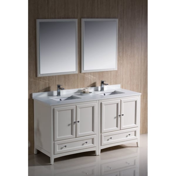 Fresca Oxford 72-inch Antique White Traditional Double Sink Bathroom Vanity