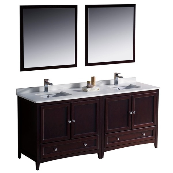 Fresca Oxford 72-inch Mahogany Traditional Double Sink Bathroom Vanity