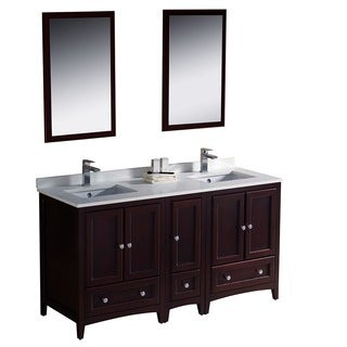 Fresca Oxford 60-inch Mahogany Traditional Double Sink Bathroom Vanity with Side Cabinet