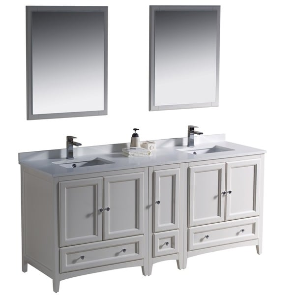 Shop fresca oxford 72 inch antique white traditional - Antique white double sink bathroom vanities ...