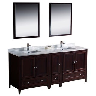 Fresca Oxford 72-inch Mahogany Traditional Double Sink Bathroom Vanity with Side Cabinet