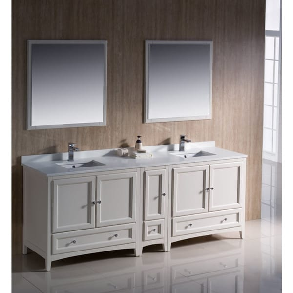 Fresca oxford 84 inch antique white traditional double for Antique white double sink bathroom vanities