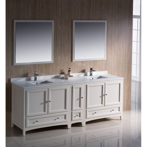 Superieur Fresca Oxford 84 Inch Antique White Traditional Double Sink Bathroom Vanity  With Side Cabinet