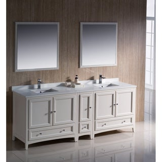 Fresca Oxford 84-inch Antique White Traditional Double Sink Bathroom Vanity with Side Cabinet