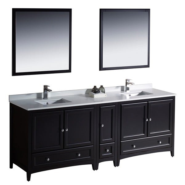 Fresca Oxford 84 Inch Espresso Traditional Double Sink Bathroom Vanity With Side Cabinet Free