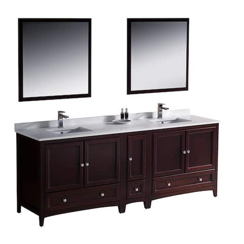 Fresca Oxford 84-inch Mahogany Traditional Double Sink Bathroom Vanity with Side Cabinet