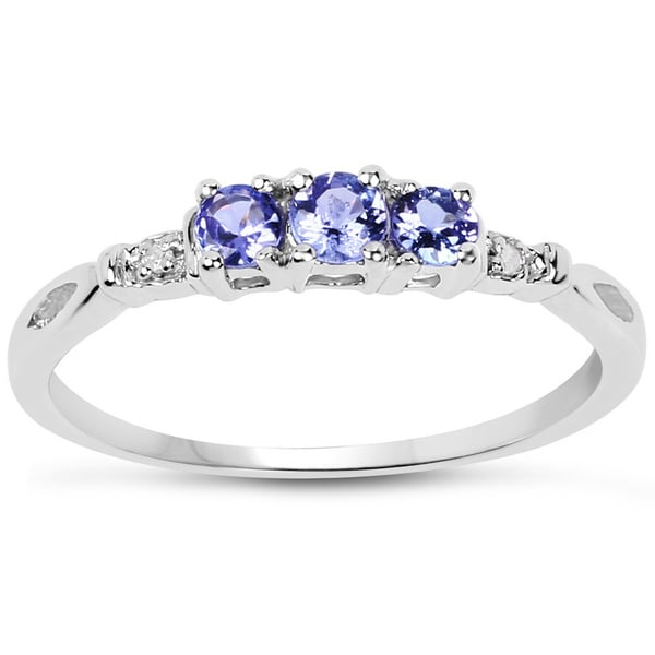Malaika 10k White Gold Genuine Tanzanite and Diamond Accent 0.19ct TGW Ring