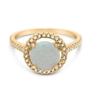 14kt Yellow Gold 2.47TCW Created Opal and Created Sapphire Ring