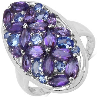 Malaika Sterling Silver Amethyst and Tanzanite 3 1/6ct TGW Ring