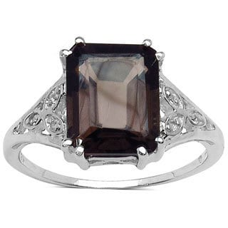Malaika Sterling Silver Smoky Quartz and White Topaz 3ct TGW Ring