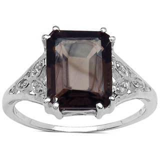 Malaika Sterling Silver Smoky Quartz and White Topaz 3ct TGW Ring|https://ak1.ostkcdn.com/images/products/9972502/P17125202.jpg?impolicy=medium