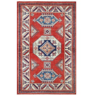 Herat Oriental Afghan Hand-knotted Tribal Super Kazak Red/ Ivory Wool Rug (3'11 x 6'2)