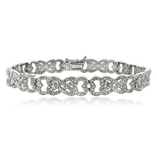 DB Designs 1ct TDW Diamond Interlocking Hearts Link Bracelet (2 options available)