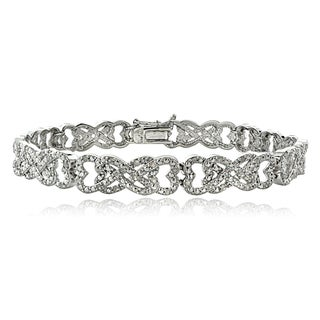 DB Designs 1ct TDW Diamond Interlocking Hearts Link Bracelet (I-J, I2-I3)