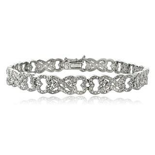 DB Designs 1ct TDW Diamond Interlocking Hearts Link Bracelet