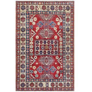 Herat Oriental Afghan Hand-knotted Tribal Kazak Red/ Ivory Wool Rug (4'3 x 6'6)