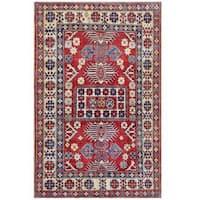 Herat Oriental Afghan Hand-knotted Tribal Kazak Wool Rug (4'3 x 6'6)