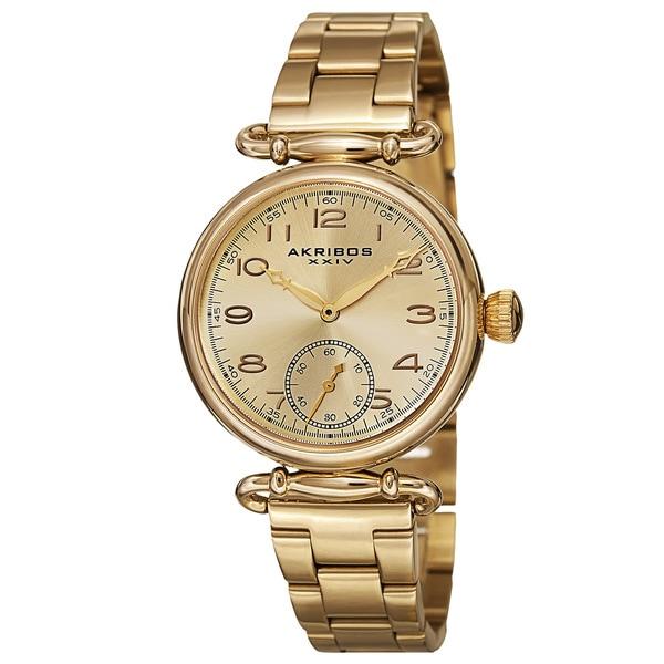 Akribos XXIV Women's Quartz Multifunction Stainless Steel Gold-Tone Bracelet Watch