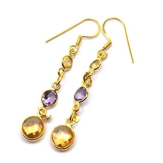 Handcrafted Citrine and Amethyst Goldplated Sterling Silver Earrings (India)