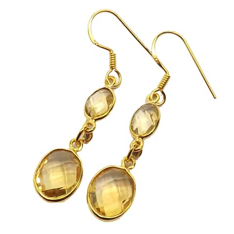 Handmade Gold Overlay Sterling Silver Citrine Earrings (India) - Yellow