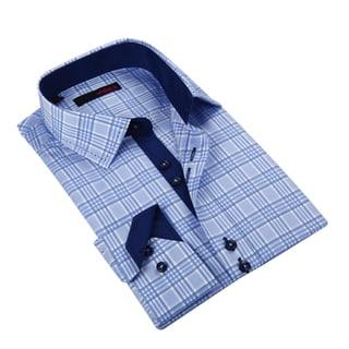 Ungaro Men's Stylish Blue Cotton Dress Shirt