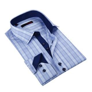 Ungaro Men's Blue Cotton Plaid Dress Shirt