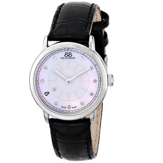 88 Rue du Rhone Women's 87WA120004 'Double 8 Origin' Swiss Quartz Black Leather Watch