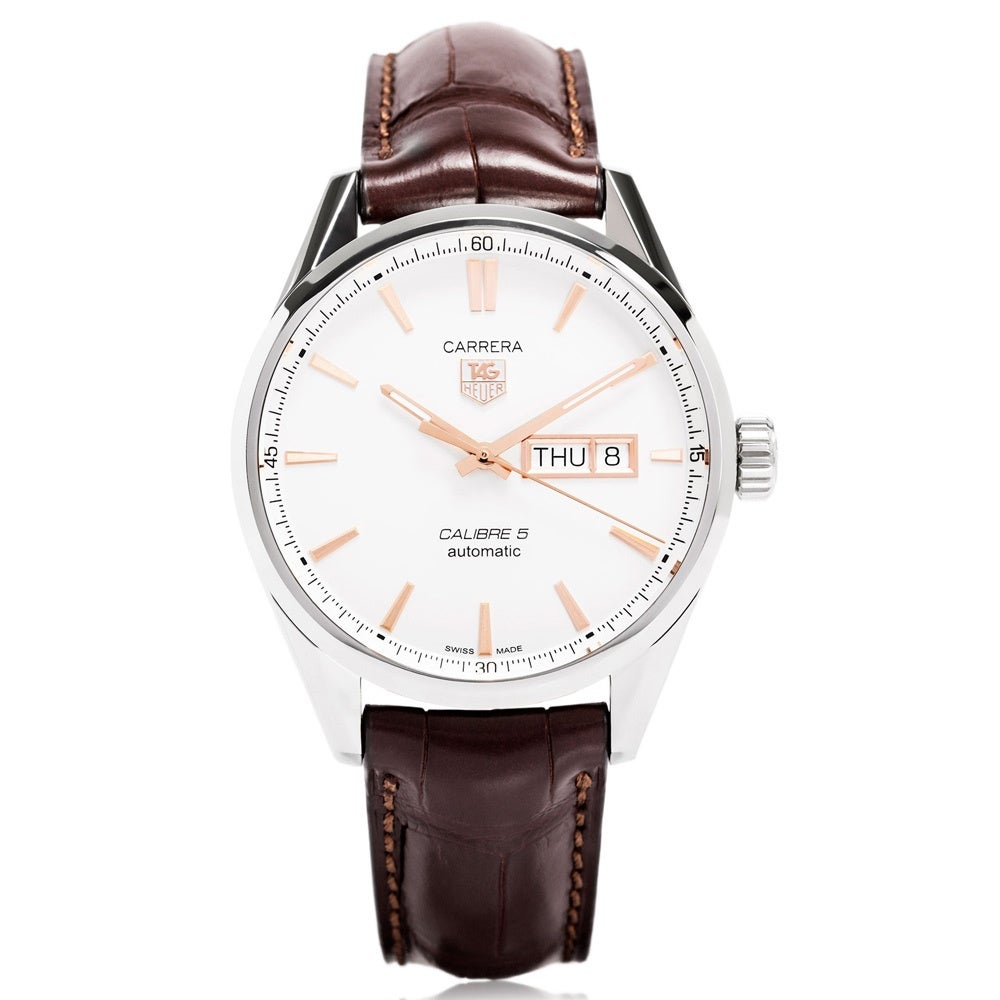 official photos 60a15 2ffe2 Tag Heuer Men's WAR201D.FC6291 'Carrera Calibre 5 Day-Date' Stainless Steel  and Leather Watch