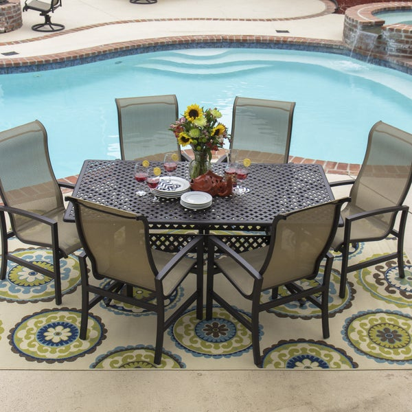 Shop Acadia 7 Piece Sling Dining Set With Stacking Chairs