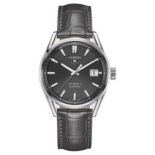 Tag Heuer Men's 'Carrera Calibre 5' Stainless Steel and Leather Watch