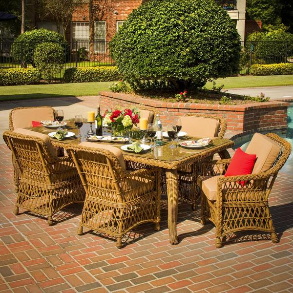 everglades 6 person resin wicker patio dining set free shipping