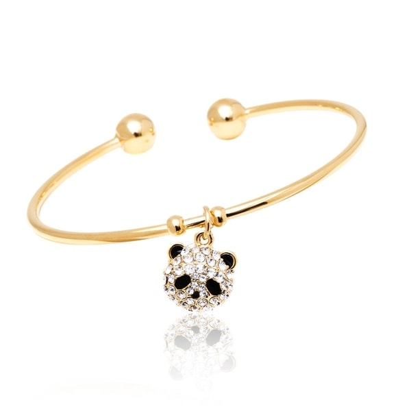Goldplated Clear Crystal Panda Charm Bangle - White