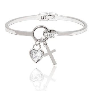 Peermont Jewelry Rhodium-plated Crystal Heart and Cross Charm Bangle