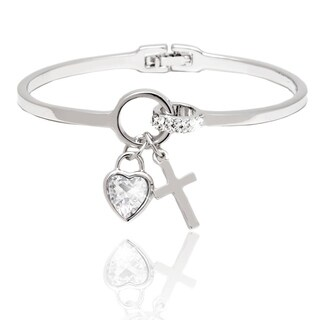 Rhodium-plated Crystal Heart and Cross Charm Bangle