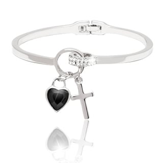 Peermont Jewelry Gold Overlay Jet Crystal Heart and Cross Charm Bangle