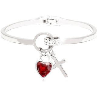 Peermont Jewelry White Gold Overlay Crystal Ruby Heart and Cross Bangle