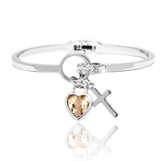 Peermont Jewelry Gold Over Silver Topaz and Crystal Charm Bangle Bracelet